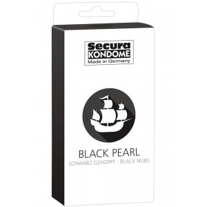 40 бр. Релефни презервативи в черен цвят с точки Black Pearl